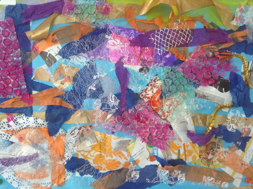 A multi media collage created by a group of children
